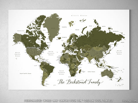 Personalized world map with cities, canvas print or push pin map in military green