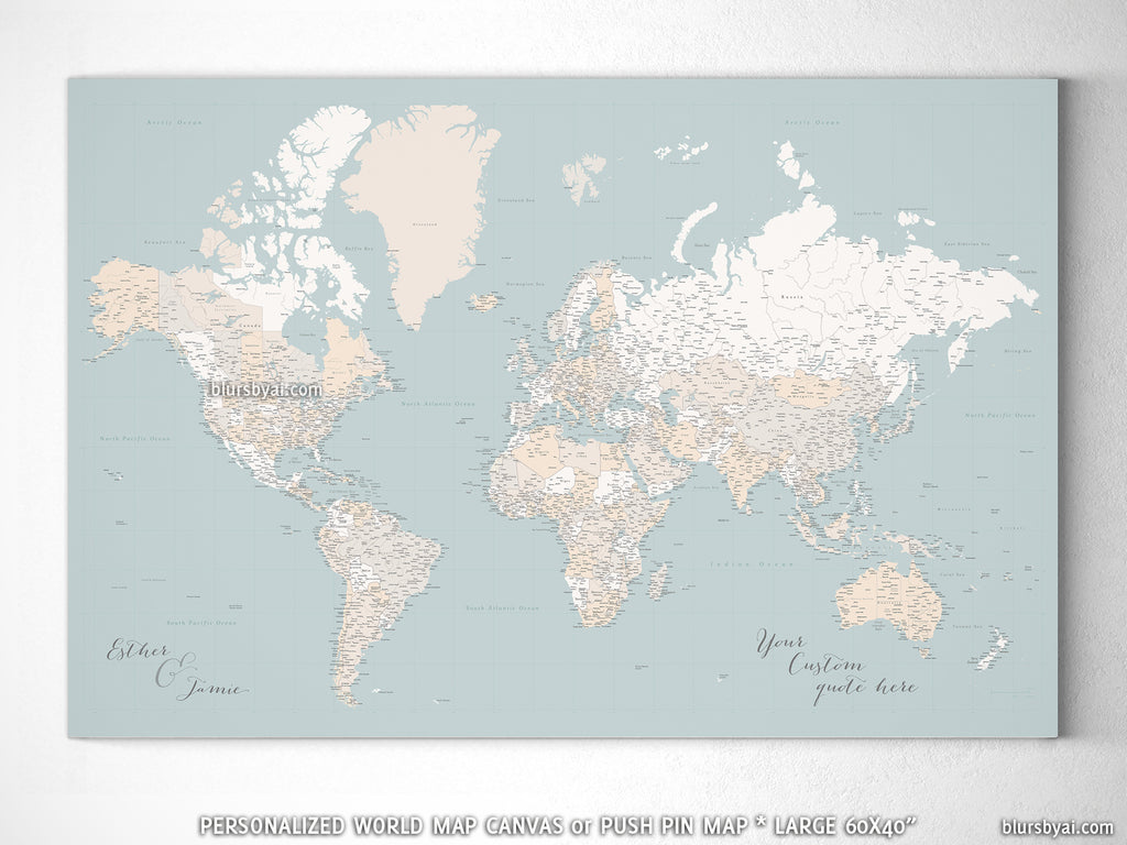 "Custom large & highly detailed world map canvas print or push pin map, muted aqua and brown, ""Tiara"""