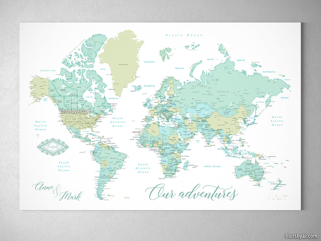 Personalized World Map With Cities Canvas Print Or Push Pin Map In - World map poster push pins