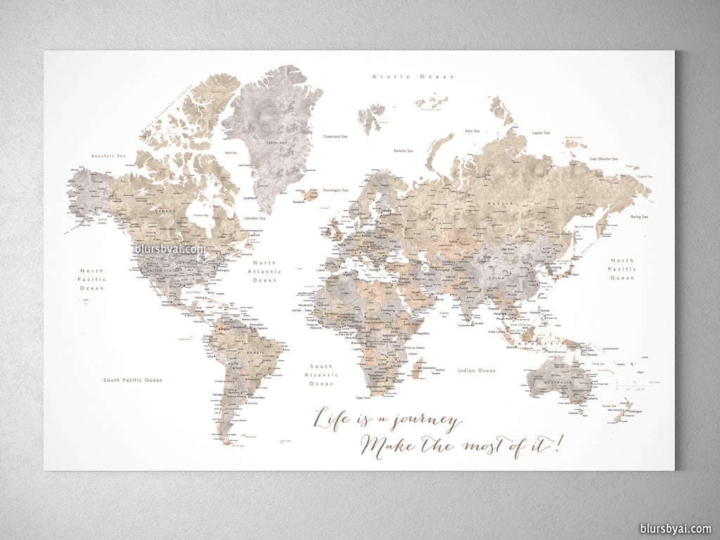 Personalized watercolor world map with cities canvas print or personalized watercolor world map with cities canvas print or push pin map in neutrals gumiabroncs Choice Image