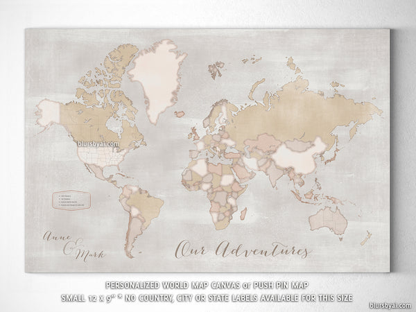 "Small personalized rustic world map canvas print or push pin map, 12x9"", ""Lucille"""