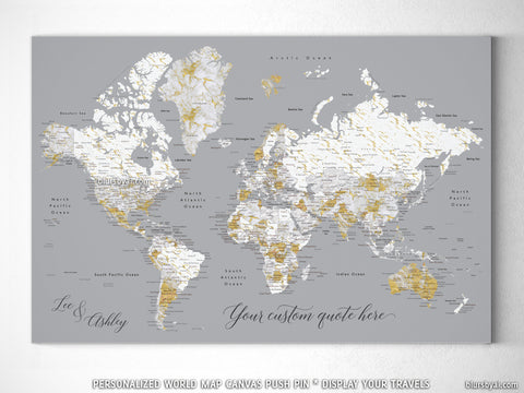 "Personalized marble world map canvas print or push pin map. ""Reagan"""