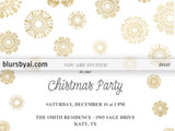 Editable pdf Christmas party invitation template: gold lace snowflakes on white (printer friendly)