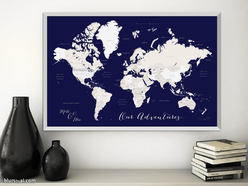 "Custom printable world map with countries and states labelled in navy blue and beige. ""Austin"""