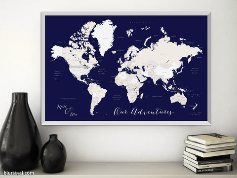 "Personalized printable world map with countries and states labelled in navy blue and beige. ""Austin"""