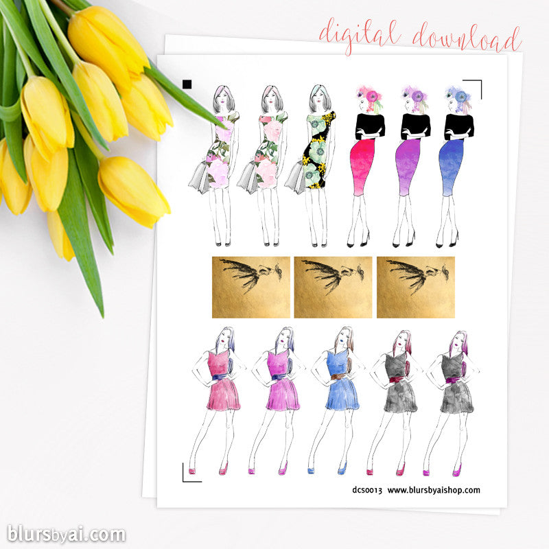 Fashion printable planner stickers, hand illustrated stickers, tall stickers + full box stickers