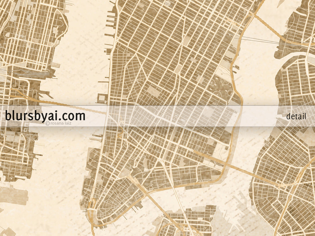 Printable map of New York City in sepia vintage style