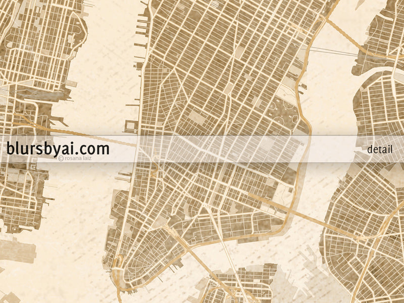 Printable map of New York City in sepia vintage style - For personal use only