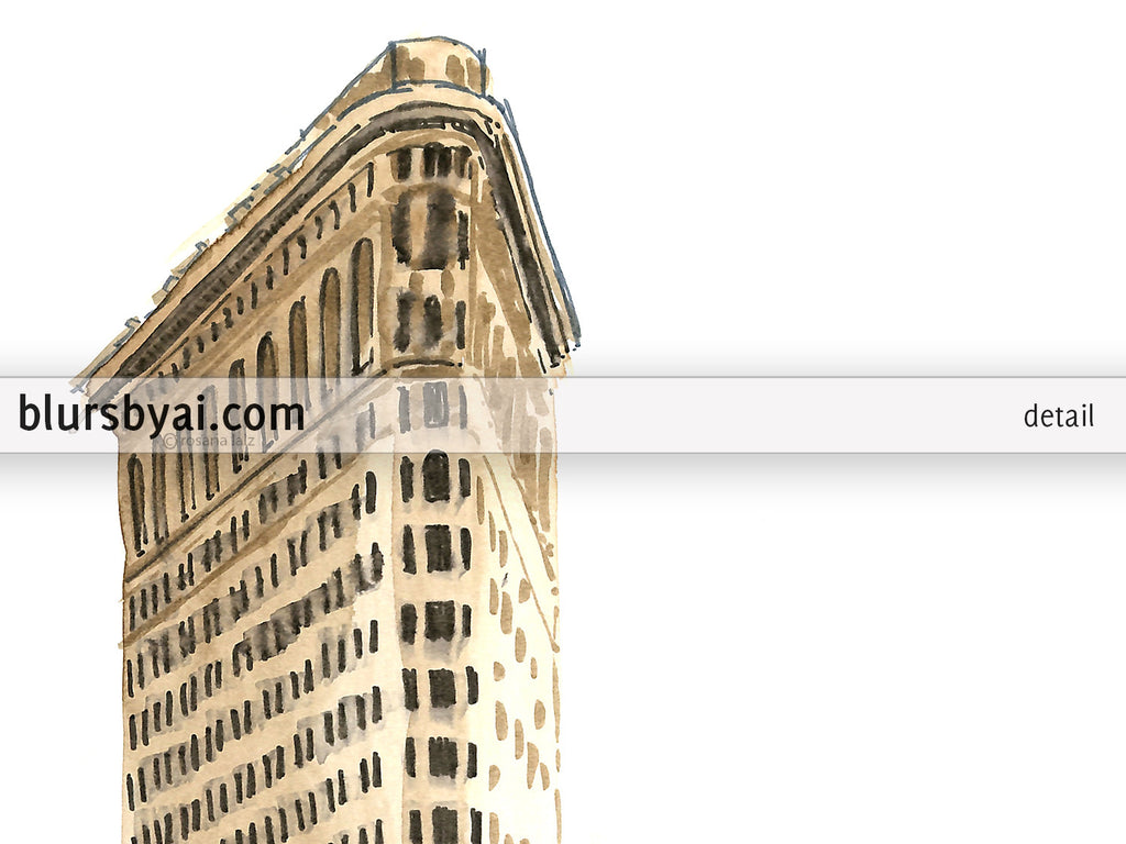 printable architectural sketch flatiron building in ny with yellow taxis