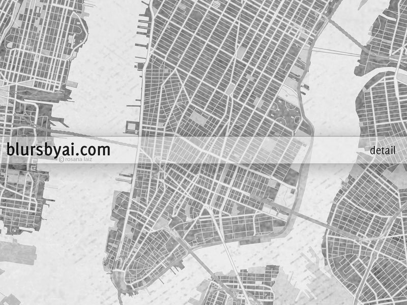 Printable map of New York City in black and white vintage style - For personal use only