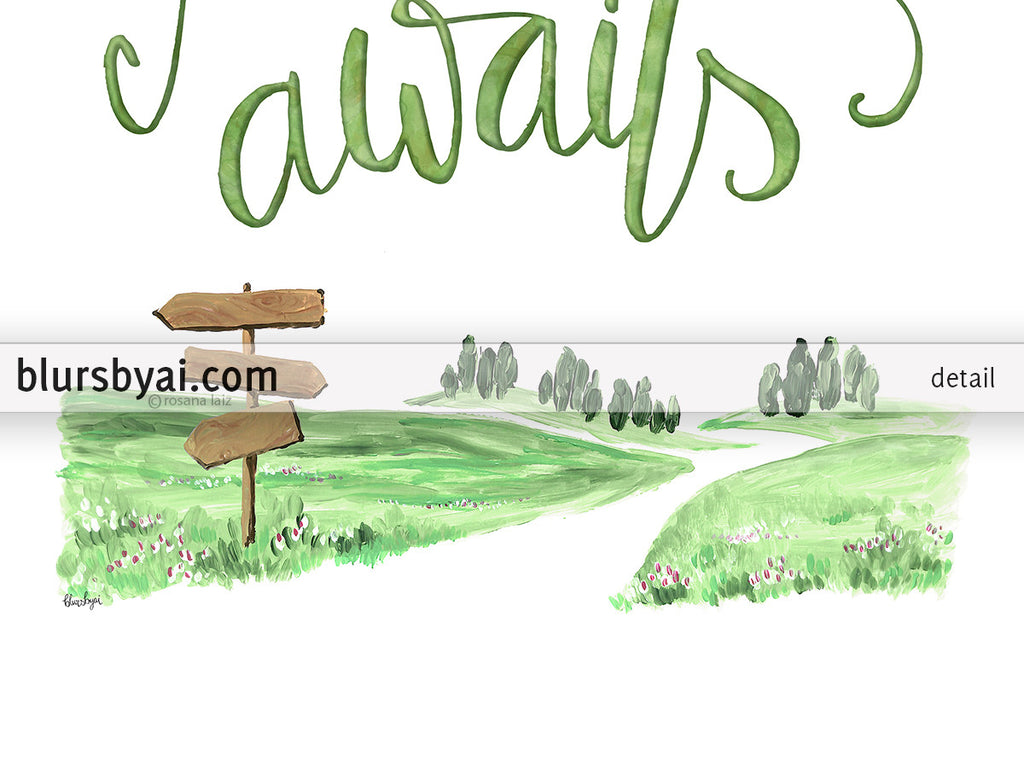 Adventure awaits, hand lettered printable boho chic decor - Personal use