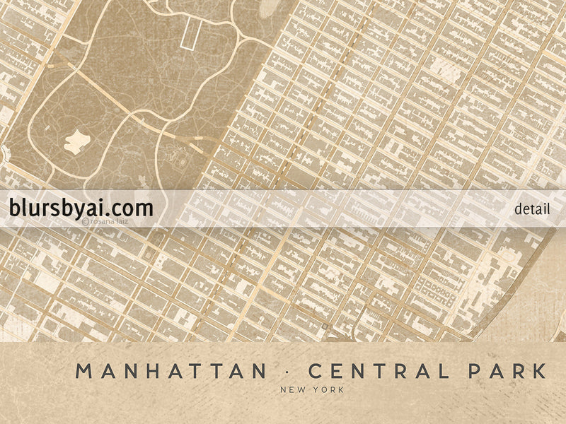 Printable map of Manhattan and Central Park in vintage style - For personal use only