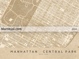 Printable map of Manhattan and Central Park in vintage style