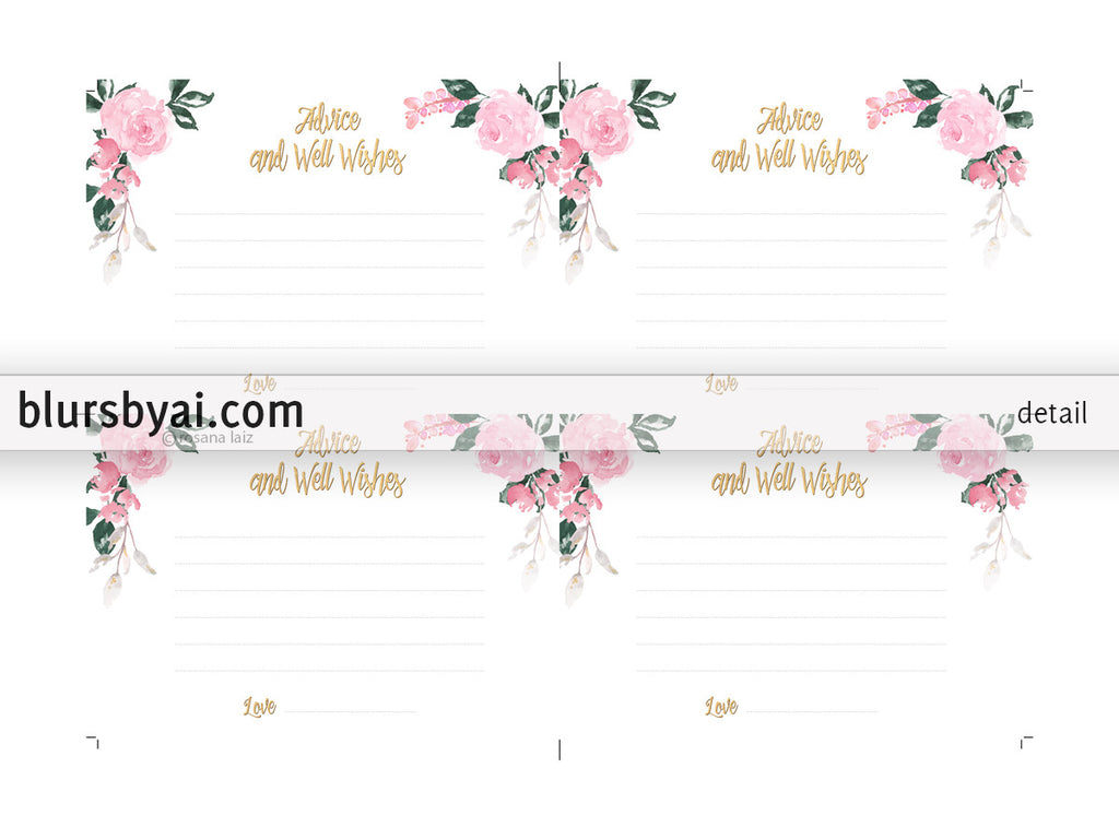 Advice and well wishes, printable card featuring roses and faux gold foil