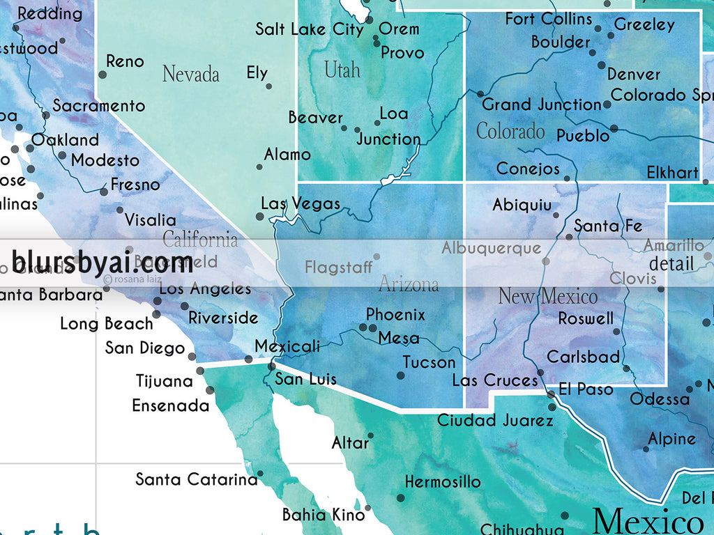 Printable map of the USA, Mexico and the Caribbean Sea, in ...