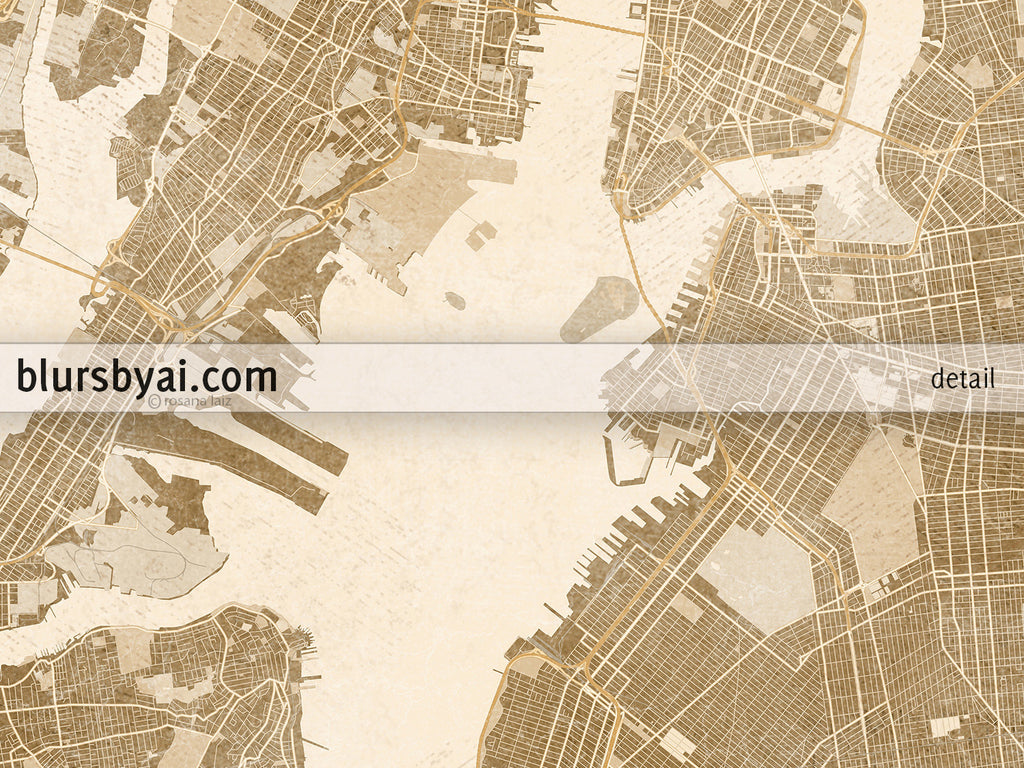 Printable Map Of New York City In Sepia Vintage Style  Blursbyai - Nyc map wallpaper