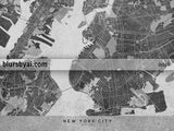 Printable map of New York City in black and white vintage style