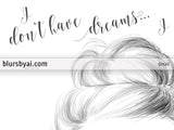 Printable fashion illustration: I don't have dreams I have plans