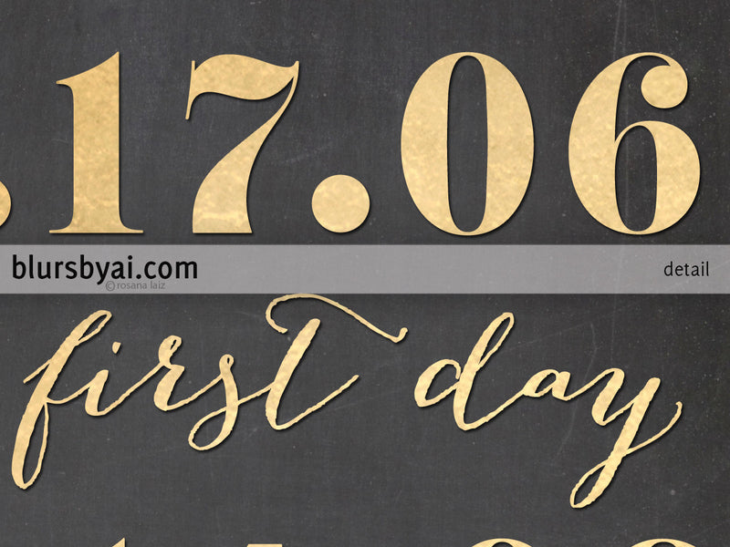 Printable custom relationship timeline sign, in gold foil and chalkboard