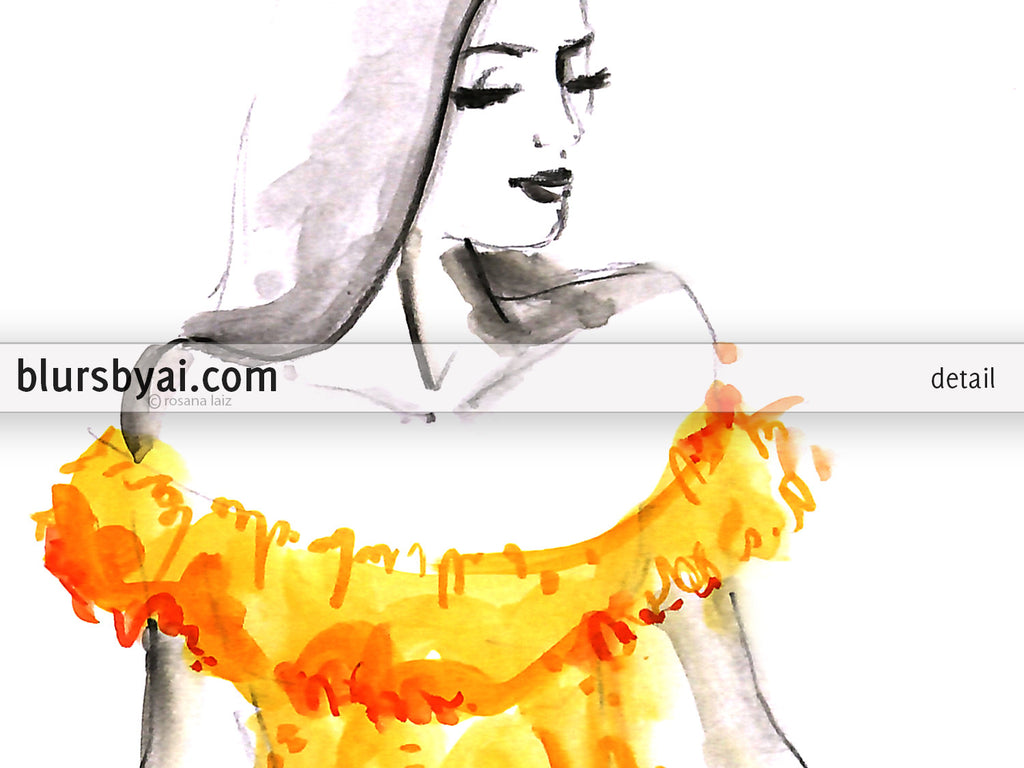 Printable fashion illustration: yellow off shoulder dress