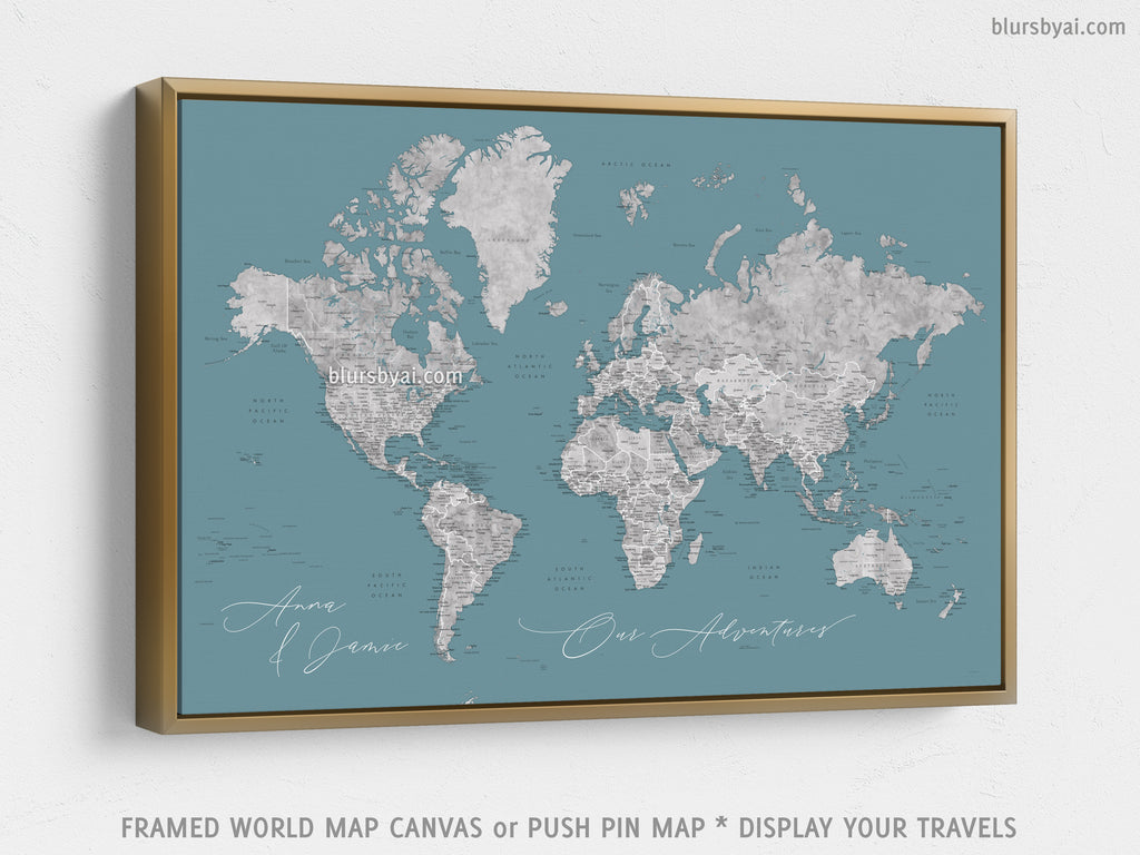 Custom world map with US state capitals, cities, states and countries, canvas print or push pin map in teal and gray