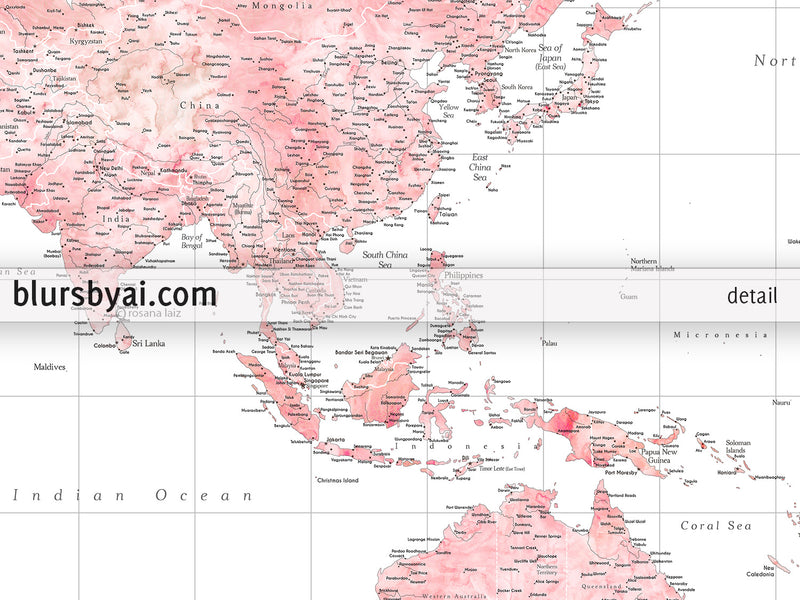 "Customized PRINTABLE highly detailed world map with cities. ""Alheli"""