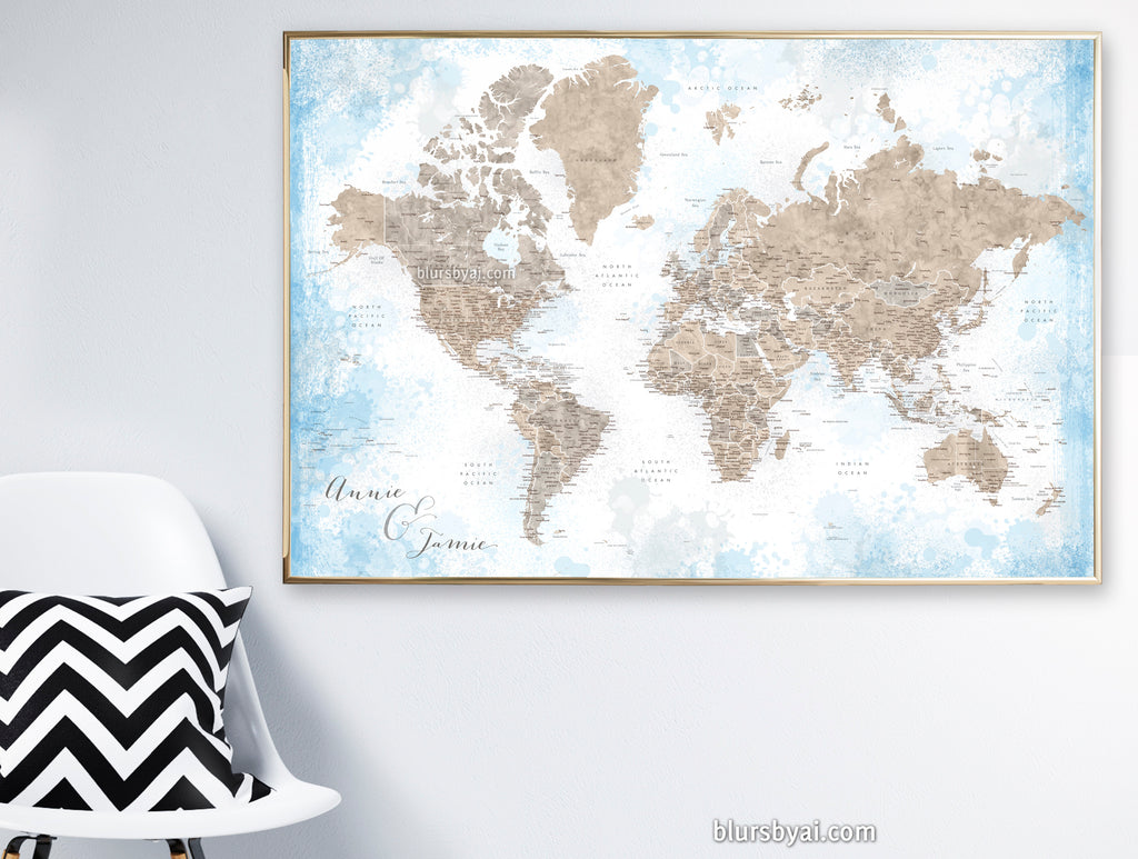 "Art print on paper: personalized world map with state capitals, cities and countries in painterly blue and brown. ""Ghada"""