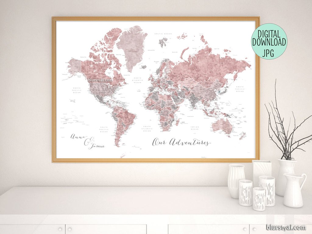 "Personalized printable world map with US state capitals, states, cities, countries... in dusty pink and grey watercolor, ""Piper"""