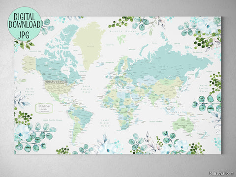 Custom quote - Printable floral and greenery world map with cities, capitals, countries, US States... labeled