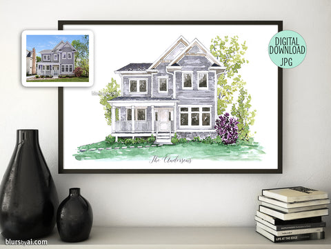 Printable custom house portrait