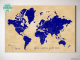 "Personalized printable world map with cities, capitals, countries, US States... labeled, in navy blue and tan. ""Korinne"""