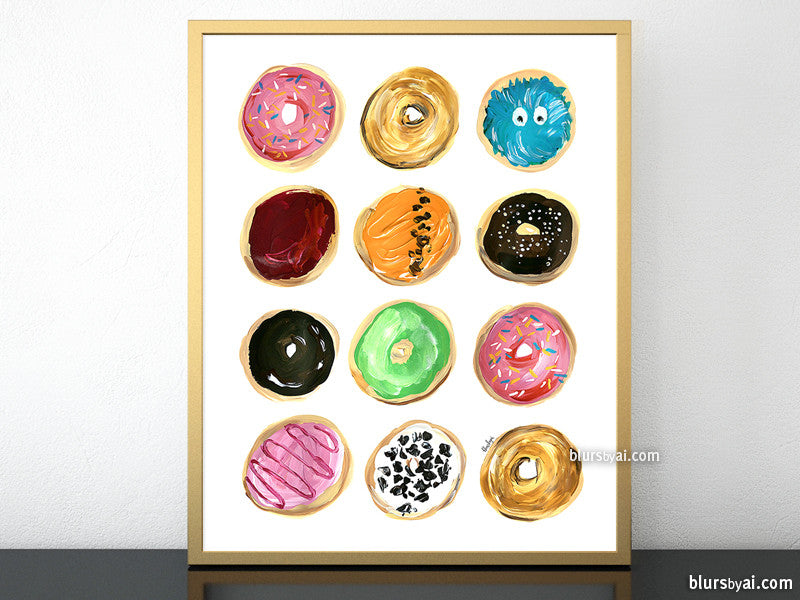 Dozen of donuts printable home decor - Personal use