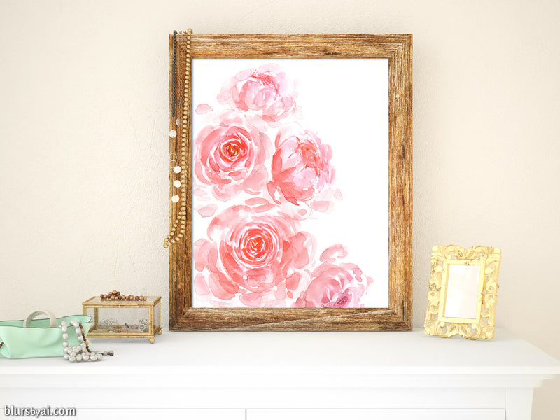 Printable dreamy pink watercolor peonies - Personal use