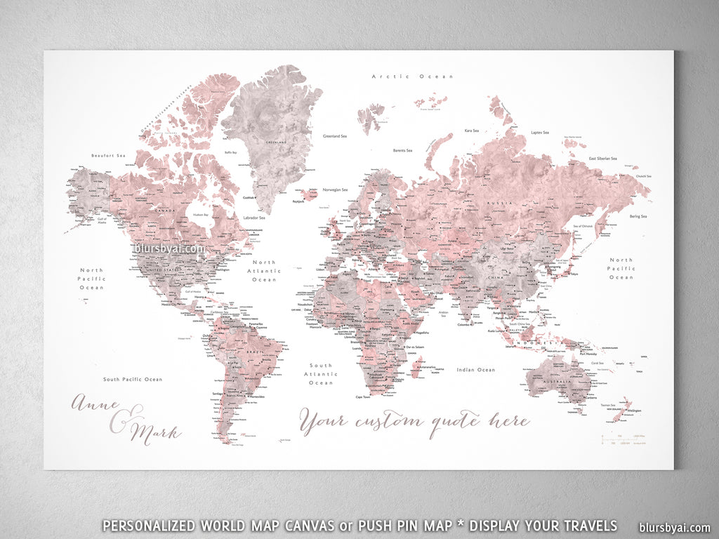 "Custom world map with cities, canvas print or push pin map in dusty pink and gray. ""Piper"""