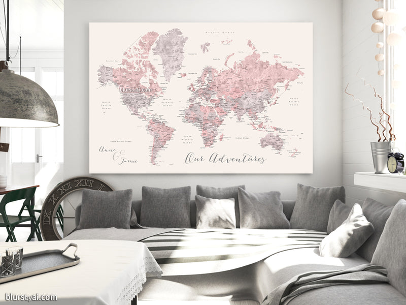 "Custom world map with cities, canvas print or push pin map in dusty pink, grey and nude. ""Kaia"""