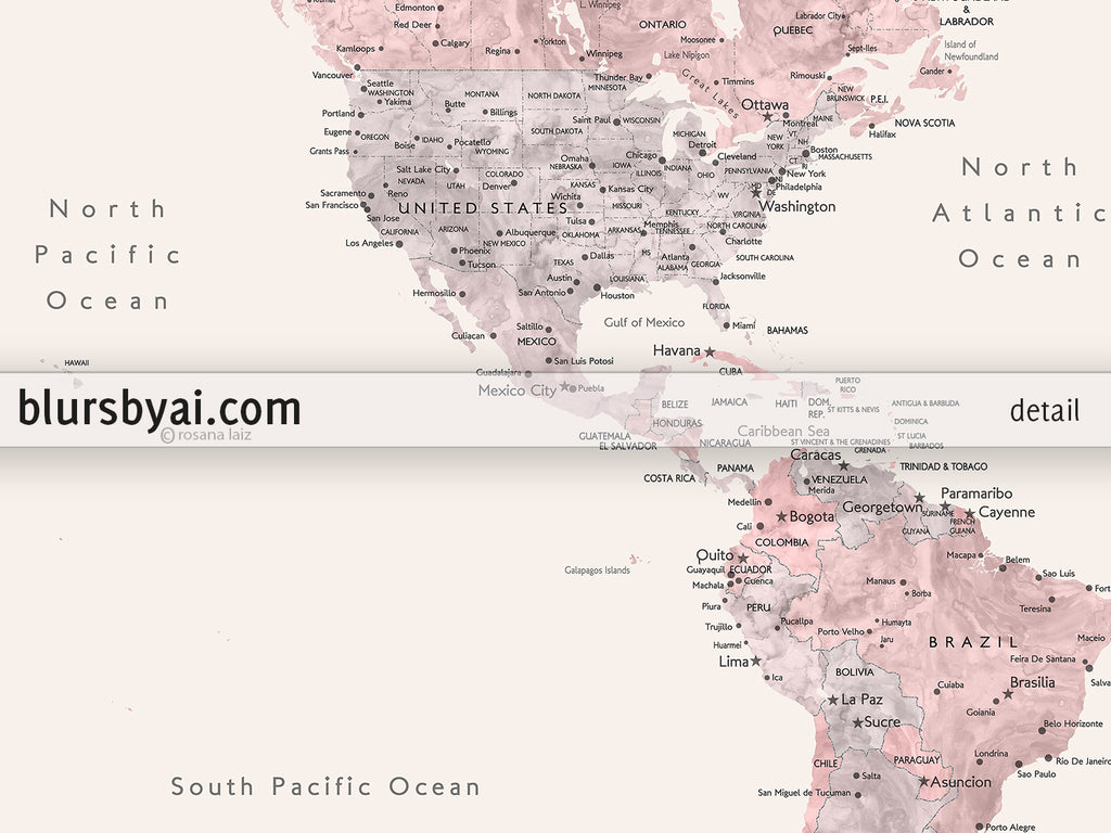 "Custom map print: world map with cities in dusty pink, grey and nude. ""Kaia"""