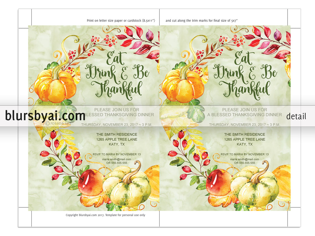 Editable pdf Thanksgiving invitation template: Give Thanks with flowers and pumpkins wreath