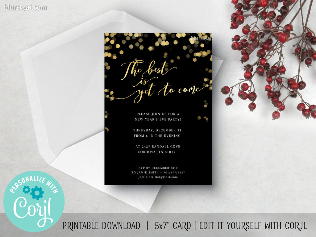 Editable printable new year's party invitation: the best is yet to come - Edit with Corjl
