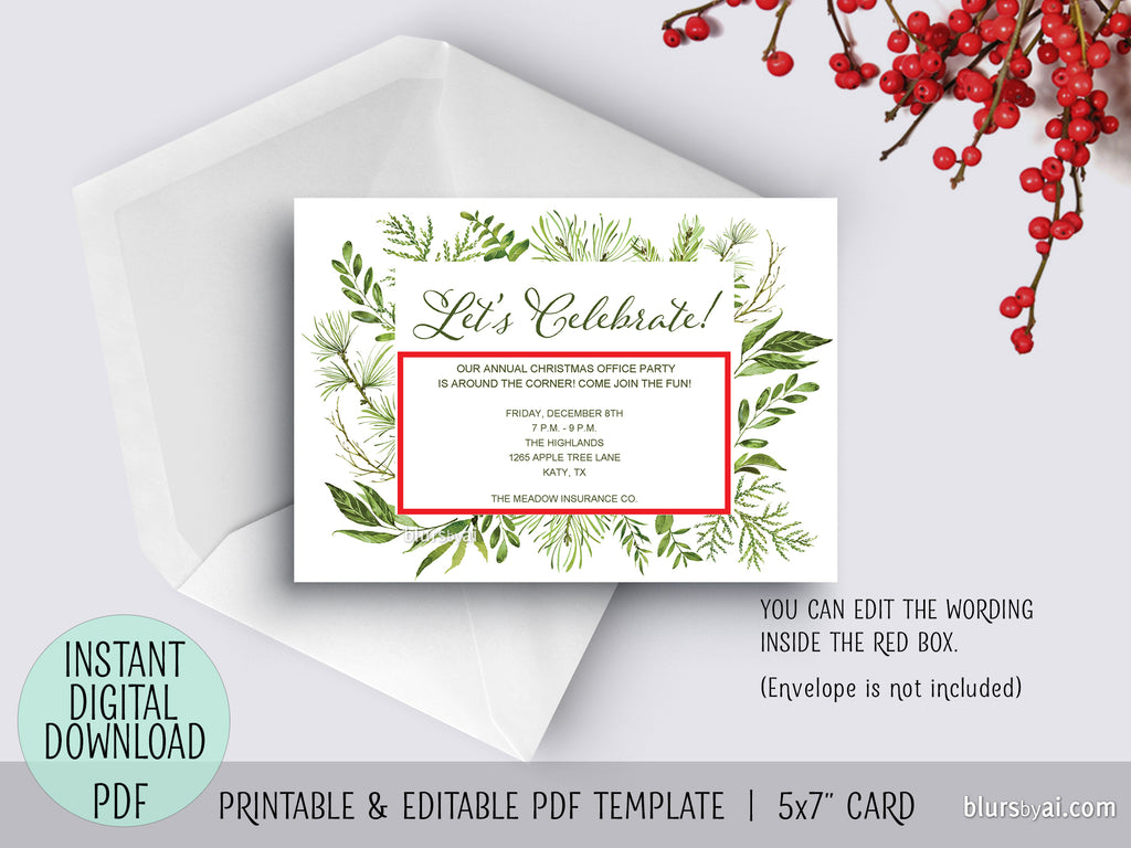 Editable pdf party invitation template: watercolor greenery \