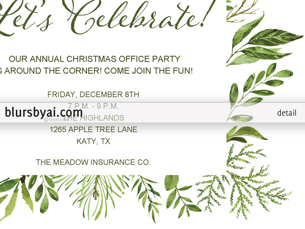 ... Editable Pdf Party Invitation Template: Watercolor Greenery   Editable Leaf Template