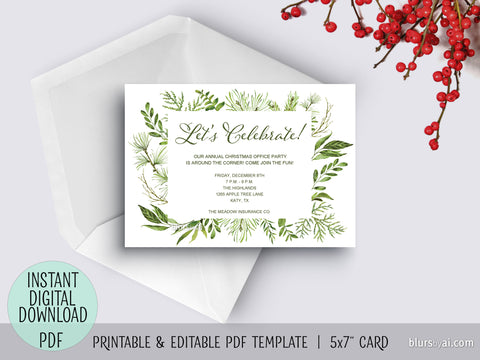 "Editable pdf party invitation template: watercolor greenery ""Let's Celebrate"""