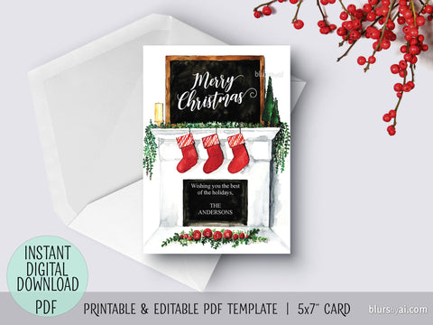 Editable pdf Christmas card template: Watercolor fireplace mantel
