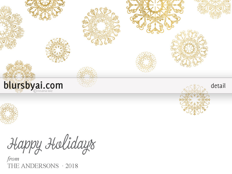 Editable pdf Christmas card template: gold lace snowflakes on white (printer friendly)