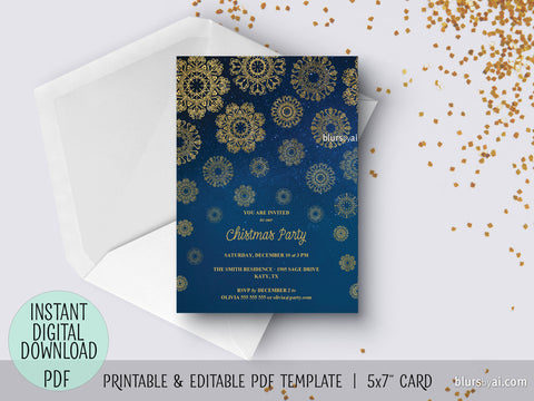 Editable pdf Christmas party invitation template: gold lace snowflakes in the night sky