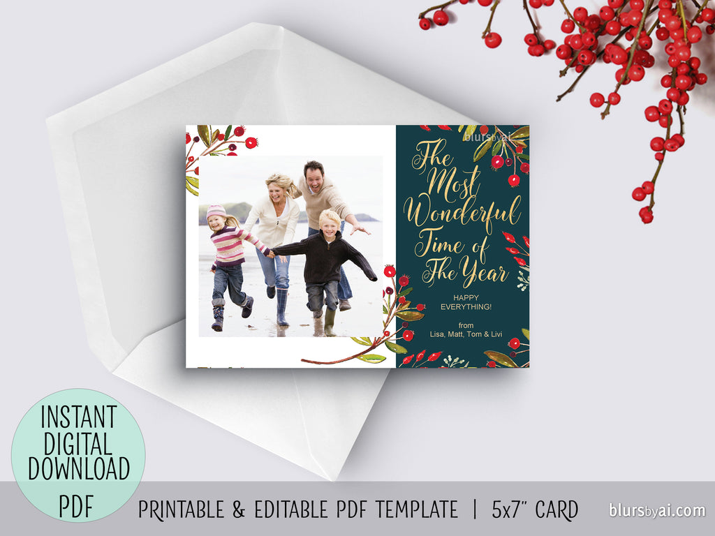 Editable pdf Christmas photo card template: The most wonderful time of the year, white