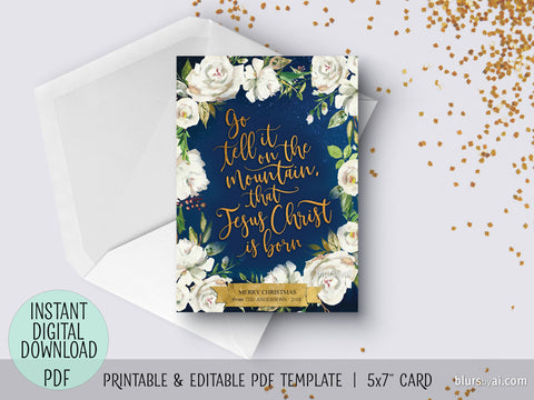 Editable pdf Christmas card template: go tell it on the mountain in navy blue floral background