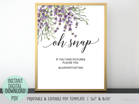 Editable pdf template: oh snap hashtag sign with lavander watercolor florals