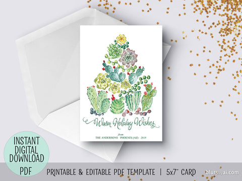 Editable pdf Christmas card template: cacti and succulents watercolor Christmas tree