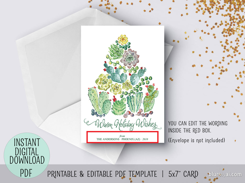 Editable pdf Christmas card template: cacti and succulents ...