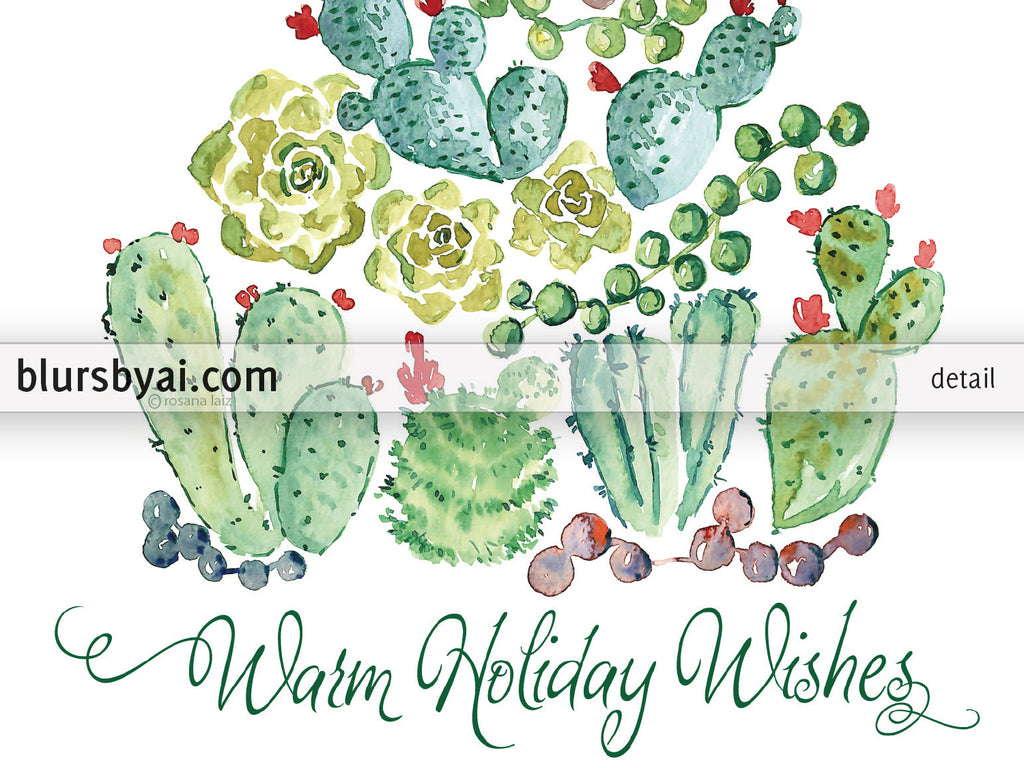Personalized printable Christmas card: watercolor cacti tree - Edit with Corjl